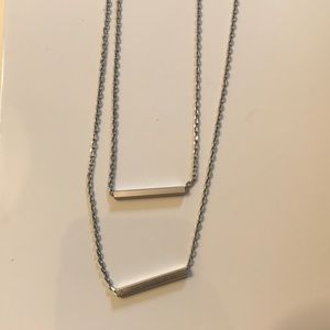 Jewelry - Delicate Double silver bar necklace